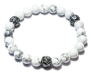 BEHERO Herren - Armband Shenlong (weißer Howlith)
