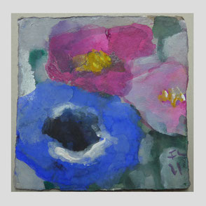 Fußmann -Sonnenblumen und Gladiolen