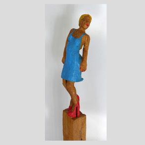 Reusch - Frau m. rot-weißem Kleid