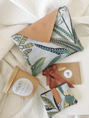 pochette en tissu avec fermeture en cuir, tissu végéta, cadeau fête des mères