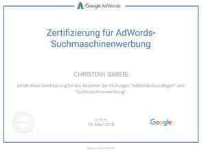 Google Adwords-Zertifikat für Christian Bareis. Gültig bis 03/2018