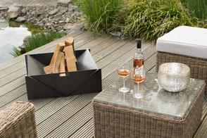 metalfisters runde Feuerschale Rostlook im Schnee