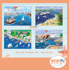 www.amarillu.de, 4 Tischsets  Kiel  A3  26,- €