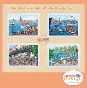 www.amarillu.de, 4 er Set Poster A3 Hamburg  19,50 €