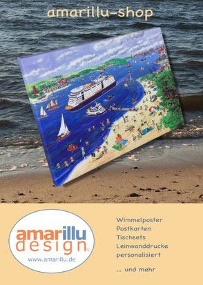 www.amarillu.de, Wimmelbilder als Poster, Tischsets, Postkarten und Leinwanddrucke