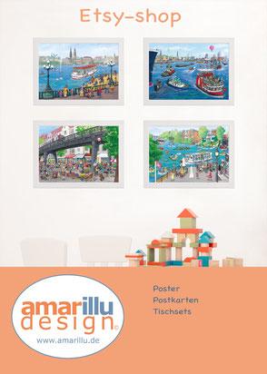 www.amarillu.de, Wimmelbilder als Poster, Tischsets und Postkarten