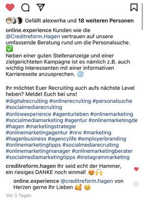 Instagram Post von Online Experience
