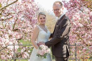 Brautpaar in Magnolienbüten rosa Baum