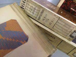 Cataloghi stoffe riparato in pergamena