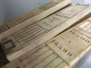 Cataloghi stoffe restaurati in pergamena