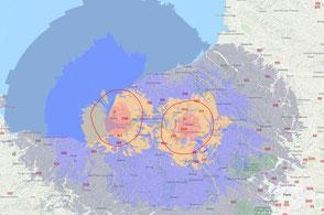 Carte de couverture théorique du mux DAB+ Rouen étendu 10A des émetteurs de Rouen et du Havre.