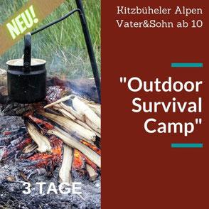 """Im """"Outdoor Survival Camp"""" lernen wir nicht nur Survival Techniken kennen sondern genießen beim Lagerfeuer gemeinsame Zeit mit den Kindern."""