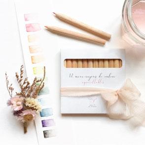 tendrement fé illustration papeterie bohème écoresponsable crayons de couleur aquarellables aquarelle coloriage art thérapie