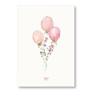 Tendrement Fé - illustration papeterie bohème affiche pailletée or collection illustrée ballons fleuris fleurs paillettes aquarelle poétique illustratrice