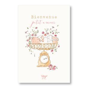 Tendrement Fé - illustration papeterie bohème carte première pesée collection illustrée aquarelle poétique fairepart naissance nouveau poids né bébé illustratrice