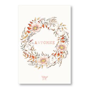 tendrement fé illustration papeterie bohème carte automne couronne de fleurs automnale collection aquarelle poétique