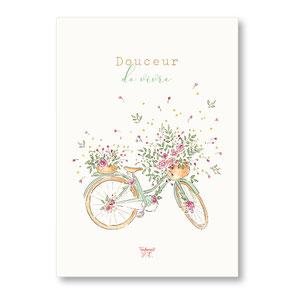 Tendrement Fé - illustration papeterie bohème affiche illustrée douceur de vivre vélo bicyclette fleurs aquarelle poétique illustratrice
