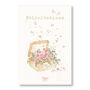 Tendrement Fé - illustration papeterie bohème carte malle printanière félicitations collection illustrée aquarelle poétique fairepart naissance mariage fleurs illustratrice