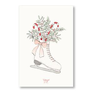 Tendrement Fé - illustration papeterie bohème carte patin à glace aquarelle collection noël
