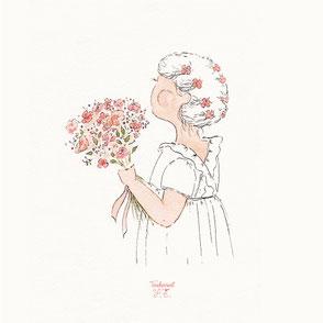 tendrement fé illustration papeterie bohème écoresponsable cartes illustrées carterie cérémonie demoiselle d'honneur mariage baptême poétique fleurs