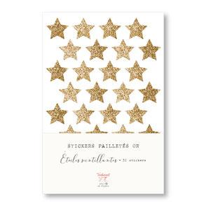 tendrement fé illustration papeterie bohème écoresponsable planche de stickers pailletés or étoiles scintillantes paillettes dorées