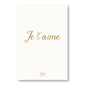 tendrement fé illustration papeterie bohème carte Je t'aime paillettes or collection les mots pailletés carterie poétique