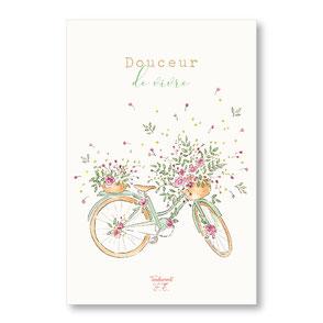 tendrement fé illustration papeterie bohème carte douceur de vivre vélo fleurs collection printemps aquarelle poétique