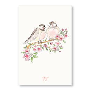 Tendrement Fé - illustration papeterie bohème carte mésanges chant des oiseaux fleurs de cerisier collection illustrée aquarelle poétique printemps je t'aime illustratrice