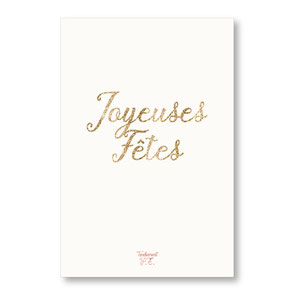 tendrement fé illustration papeterie bohème carte pailletée Joyeuses Fêtes paillettes or collection les mots pailletés carterie poétique