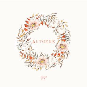 tendrement fé illustration papeterie bohème écoresponsable cartes illustrées aquarelle carterie couronne de fleurs automne