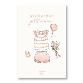 Tendrement Fé - illustration papeterie bohème carte bienvenue petit amour collection illustrée aquarelle poétique fairepart naissance nouveau né bébé jolie layette illustratrice