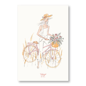 Tendrement Fé - illustration papeterie bohème carte a bicyclette collection illustrée aquarelle poétique printemps été