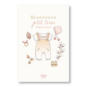 Tendrement Fé - illustration papeterie bohème carte petit trésor d'automne collection naissance fairepart aquarelle