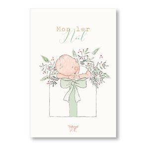 Tendrement Fé - illustration papeterie bohème carte mon premier noël bébé naissance aquarelle collection noël
