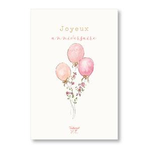 tendrement fé illustration papeterie bohème carte ballons fleuris joyeux anniversaire aquarelle poétique carte paillettée or