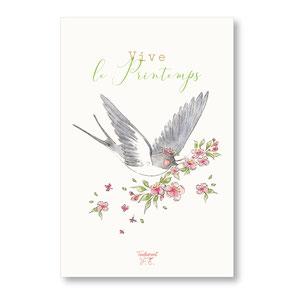 tendrement fé illustration papeterie bohème carte vive le printemps hirondelle fleurs de cerisier collection printemps aquarelle poétique