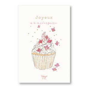 tendrement fé illustration papeterie bohème carte cupcake fleuri joyeux anniversaire patisserie gateau aquarelle poétique carte paillettée or