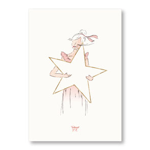 Tendrement Fé - illustration papeterie bohème affiche pailletée or collection illustrée tendre étoile bonne étoile paillettes aquarelle poétique illustratrice