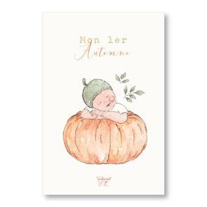 tendrement fé illustration papeterie bohème carte automne couronne de fleurs automnale citrouille collection illustrée naissance aquarelle poétique