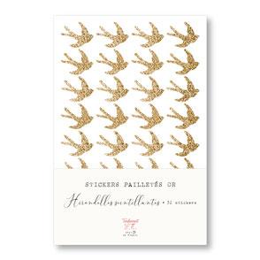 tendrement fé illustration papeterie bohème écoresponsable planche de stickers pailletés or hirondelles scintillantes paillettes dorées