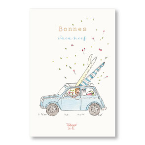 Tendrement Fé - illustration papeterie bohème carte bonnes vacances collection illustrée aquarelle poétique ancienne voiture mini austin vintage bord de mer illustratrice