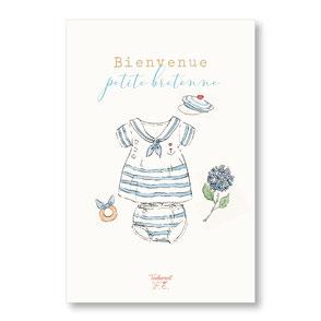 tendrement fé illustration papeterie bohème carte bienvenue petite bretonne collection illustrée naissance aquarelle poétique fairepart naissance trousseau bébé layette