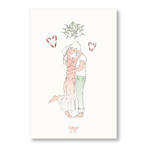 Tendrement Fé - illustration papeterie bohème carte s'embrasser sous le gui joyeux noël bonne année aquarelle collection noël