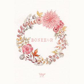 tendrement fé illustration papeterie bohème écoresponsable cartes illustrées aquarelle carterie bonheur les mots doux poétique couronne de fleurs
