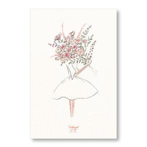 Tendrement Fé - illustration papeterie bohème carte bouquet champêtre collection illustrée aquarelle poétique mariage mariée bonne fête maman illustratrice