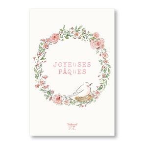 Tendrement Fé - illustration papeterie bohème carte joyeuses Pâques couronne de fleurs collection illustrée aquarelle poétique illustratrice