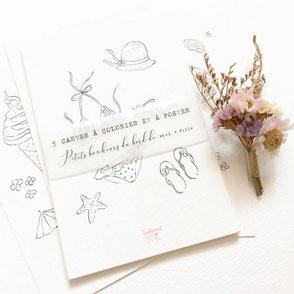 tendrement fé illustration papeterie bohème écoresponsable cartes illustrées carterie coloriage aquarelle poétique fleurs