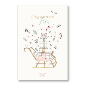 Tendrement Fé - illustration papeterie bohème carte joyeuses fêtes traîneau de noël aquarelle collection noël