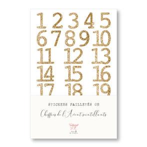 tendrement fé illustration papeterie bohème écoresponsable planche de stickers pailletés or chiffres de l'Avent scintillants paillettes dorées