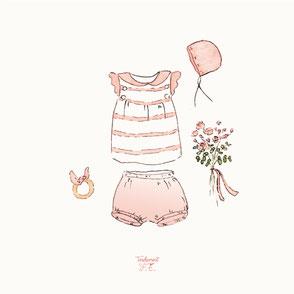 tendrement fé illustration papeterie bohème écoresponsable cartes illustrées aquarelle carterie naissance trousseau layette bébé enfant poétique fleurs